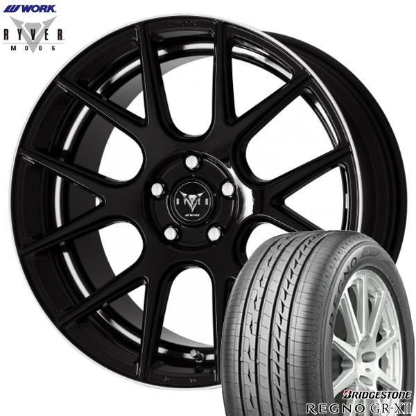 送料無料 225/40R19インチ 5H114WORK RYVER ワーク レイバー M006 ブラック ブリヂストン レグノGR-XII 新品サマータイヤ ホイール4本セット