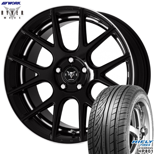 225/55R19インチ 5H114WORK RYVER ワーク レイバー M006 ブラック ハイフライ HP801 新品サマータイヤ ホイール4本セット