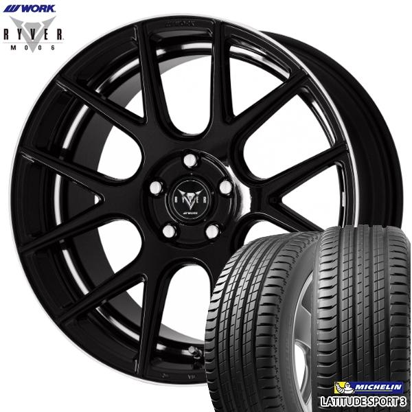 225/55R19インチ 5H114WORK RYVER ワーク レイバー M006 ブラック ミシュラン ラティチュードスポーツ3 新品サマータイヤ ホイール4本セット