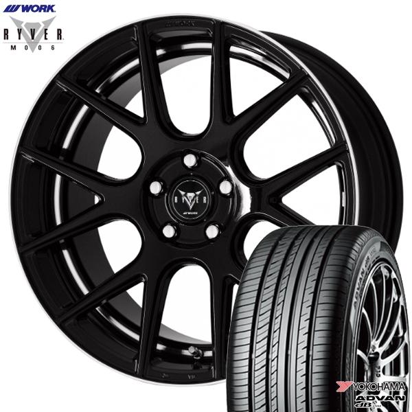 245/45R19インチ 5H114WORK RYVER ワーク レイバー M006 ブラック ヨコハマ アドバンデシベル V552 新品サマータイヤ ホイール4本セット