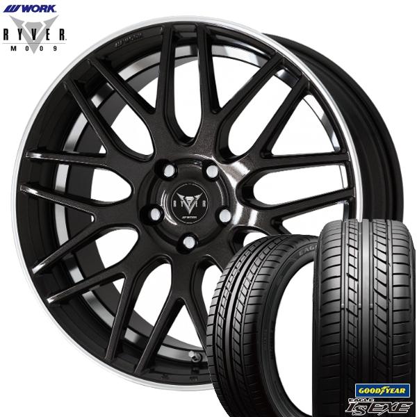 245/45R19インチ 5H114WORK RYVER ワーク レイバー M009 ブラック グッドイヤー LS EXE エグゼ 新品サマータイヤ ホイール4本セット
