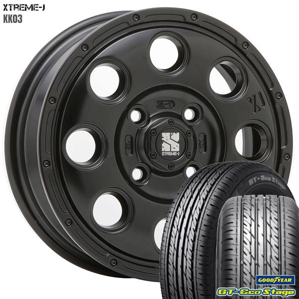 送料無料 155/65R14インチ MLJ エクストリームJ KK03 ブラック グッドイヤー GTエコステージ 軽自動車用 新品サマータイヤ ホイールセット