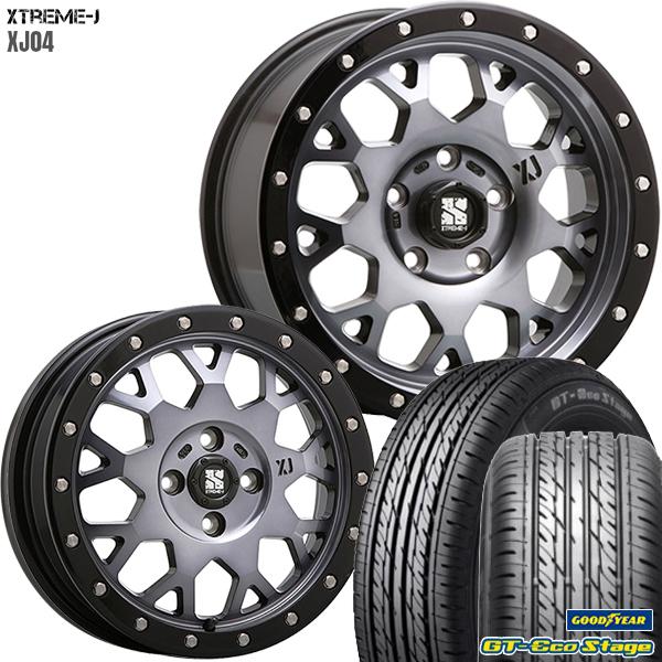 送料無料 155/65R14インチ 4H100MLJ エクストリームJ XJ04 グロスブラック グッドイヤー GTエコステージ 軽自動車用 新品サマータイヤ ホイール4本セット