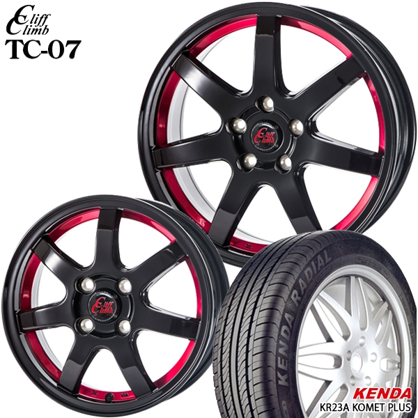 送料無料 165/50R15インチ クリフクライム TC07 レッド ケンダ KR23A 新品サマータイヤ ホイール4本セット