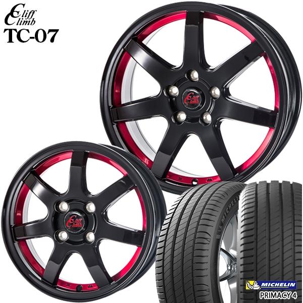 送料無料 215/60R17インチ クリフクライム TC07 レッド ミシュラン プライマシー4 新品サマータイヤ ホイール4本セット