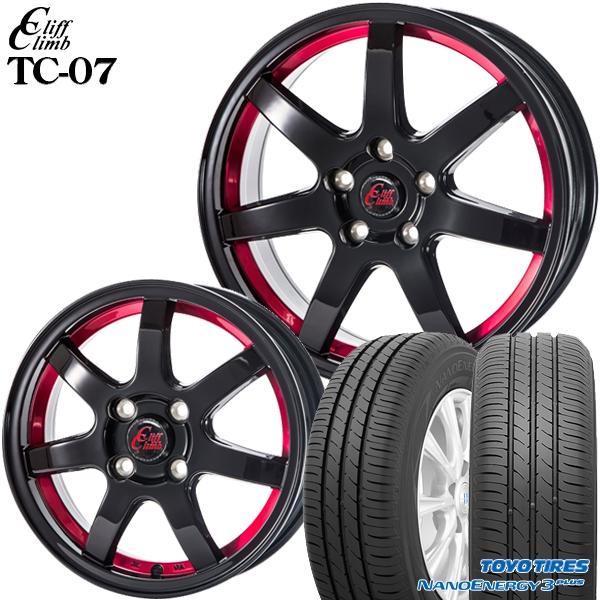 送料無料 185/65R15インチ クリフクライム TC07 レッド トーヨー ナノエナジー3プラス 新品サマータイヤ ホイール4本セット