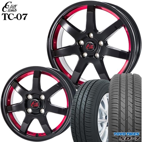 送料無料 205/60R16インチ クリフクライム TC07 レッド トーヨー TOYO SD-7 SD7 新品サマータイヤ ホイール4本セット