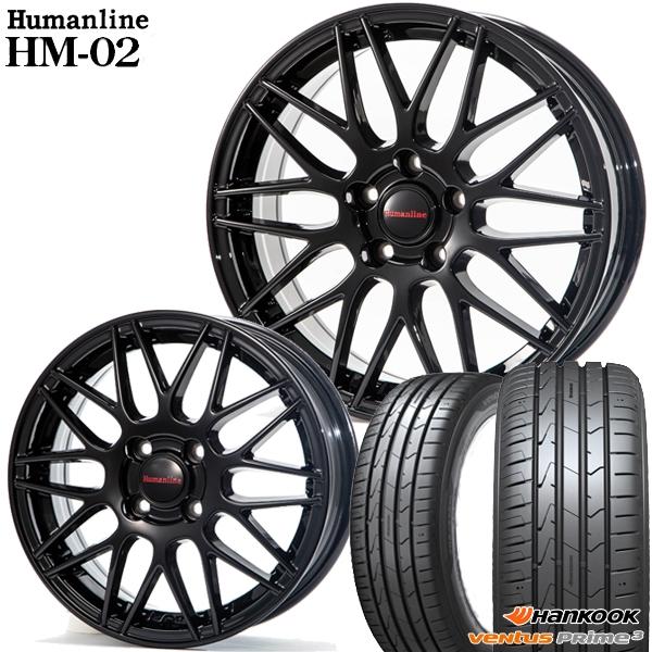 送料無料 165/55R14インチ ヒューマンライン HM02 ブラック ハンコック K125 新品サマータイヤ ホイール4本セット