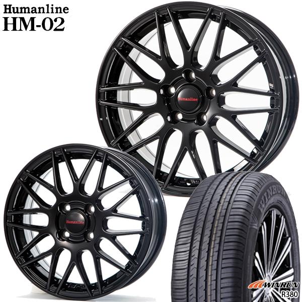 送料無料 165/70R14インチ ヒューマンライン HM02 ブラック WINRUN ウィンラン R380 新品サマータイヤ ホイール4本セット