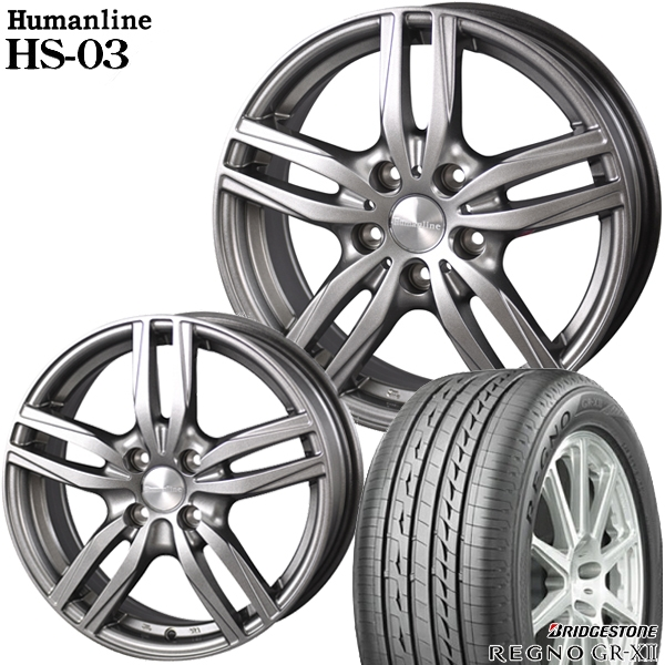 送料無料 215/55R17インチ ヒューマンライン HS03 ブリヂストン レグノGR-XII 新品サマータイヤ ホイール4本セット
