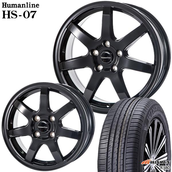 送料無料 165/65R14 WINRUN ウィンラン R380 ヒューマンラインHS07 ブラック 5.5J-14インチ 4H100 新品サマータイヤ ホイール4本セット