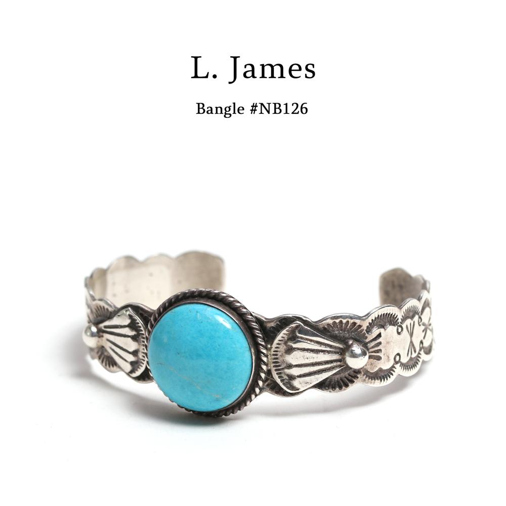 【メール便配送】L. James(L・ジェームス) ターコイズスタンクワークバングル【ナバホ族 Navajo】#NB126 インディアンジュエリー