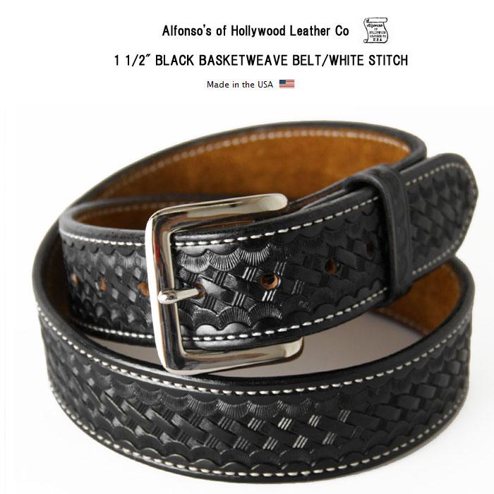"""1 1/2"""" アルフォンソ オブ ハリウッド レザーベルト 牛革 本革 ブラックバスケットウィーブベルト ホワイトステッチ Alfonso's of Hollywood Leather Co アメリカ製"""