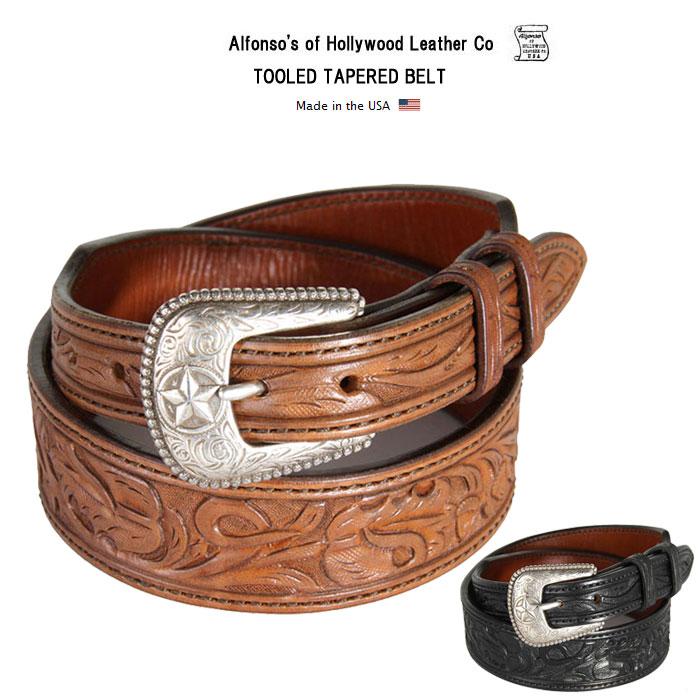 アルフォンソ オブ ハリウッドレザー ベルト 牛革 本革 ツールドテーパードウエスタンベルト Alfonso's of Hollywood Leather Co アメリカ製