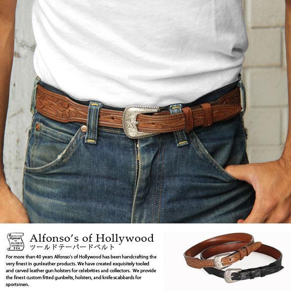 ツールドテーパードウエスタンベルト Alfonso's of Hollywood Leather Co.【送料無料】