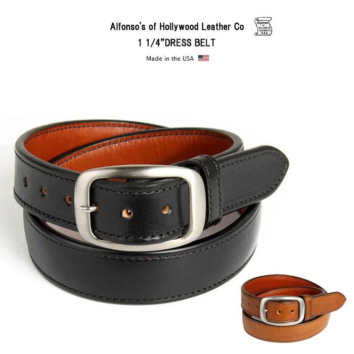"""1 1/4""""アルフォンソ オブ ハリウッド レザー ベルト 牛革 本革 ドレスベルト Alfonso's of Hollywood Leather Co アメリカ製"""