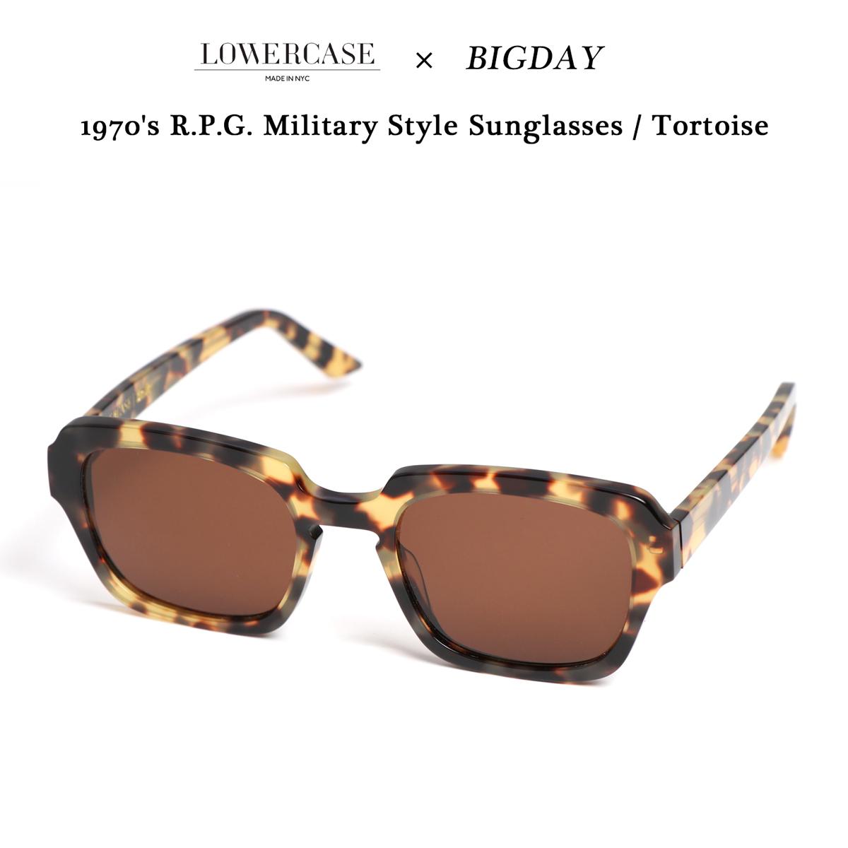 LOWERCASE(ローワーケース)×BIGDAY 1970's R.P.G.ミリタリースタイル サングラス イエロートータス USA製
