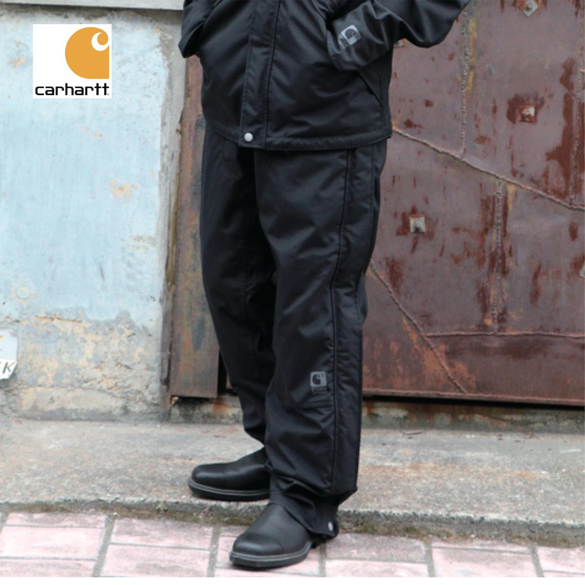 送料無料 レインウェア メンズ バイク 防水 釣り 登山 雨具 カッパ 作業服 作業着 大きいサイズ パンツ ズボン 車 アメリカ USA Carhartt カーハート #B216 SHORELINE PANT ワークパンツ レインパンツ ブラック