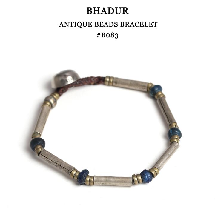 【メール便配送】 BHADUR バハドゥール アンティークビーズブレスレット フリーサイズ OLD SILVER×ANTIQUE GLASS BEADS×NICKEL ブレスレット アクセサリー #ABB083
