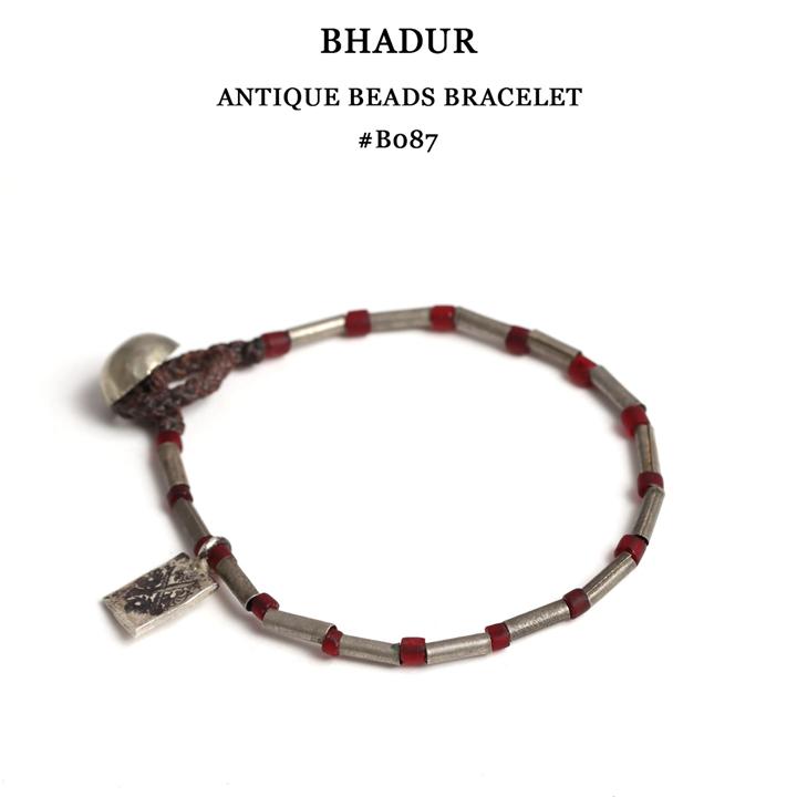 【全品10%OFFクーポン配布中 12/26 2時迄】【メール便配送】 BHADUR バハドゥール アンティークビーズブレスレット フリーサイズ OLD SILVER×ANTIQUE GLASS BEADS ブレスレット アクセサリー #ABB087