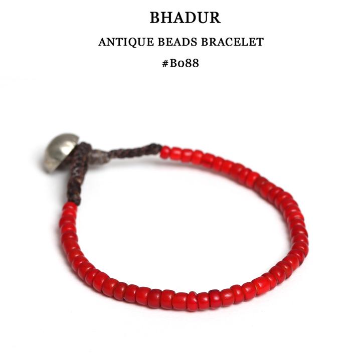 【メール便配送】 BHADUR バハドゥール #ABB088 アンティークビーズブレスレット フリーサイズ ANTIQUE WHITE HARTS BEADS ×OLD SILVER TYPE A B C