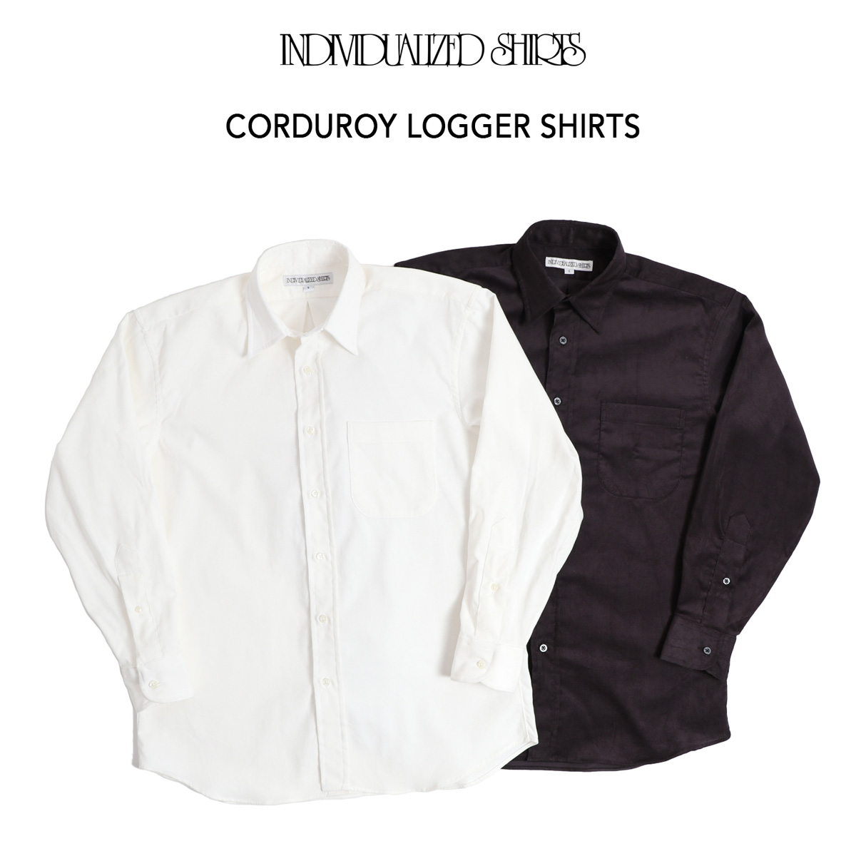 INDIVIDUALIZED SHIRTS コーデュロイ ロガーシャツ 全2色 Corduroy Logger Shirts Classic Fit 100% Cotton