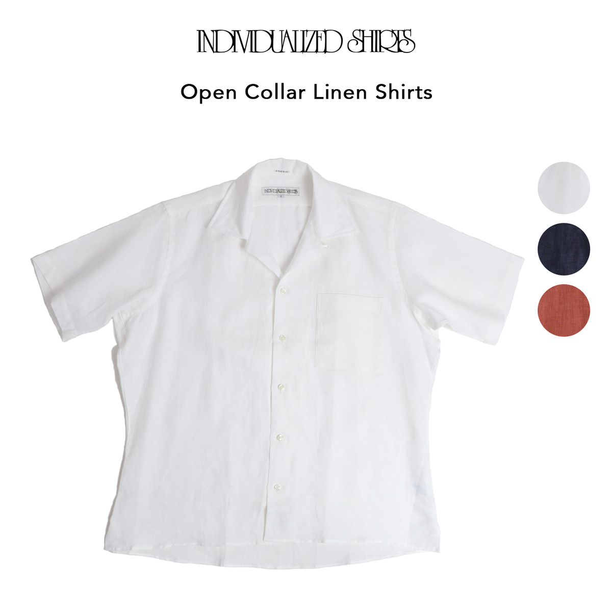 INDIVIDUALIZED SHIRTS オープンカラーリネン半袖シャツ 全3色 Camp Coller Shirts Athletic Fit 100% Pure Linen 送料無料