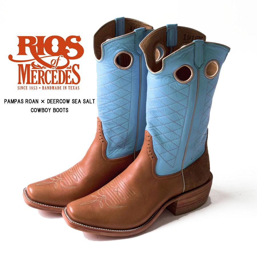 "RIOS OF MERCEDES(リオスオブメルセデス) カウボーイブーツ ウエスタンブーツ ""PAMPAS ROAN×DEERCOW SEA SALT"" 送料無料"
