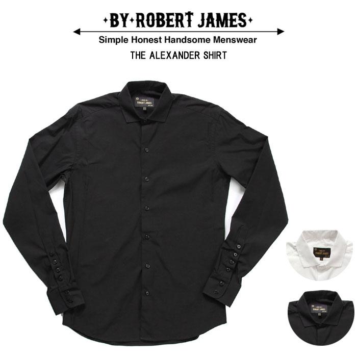 BY ROBERT JAMES 長袖マイクロスプレッドカラーシャツ 無地全2色 【楽ギフ_メッセ】