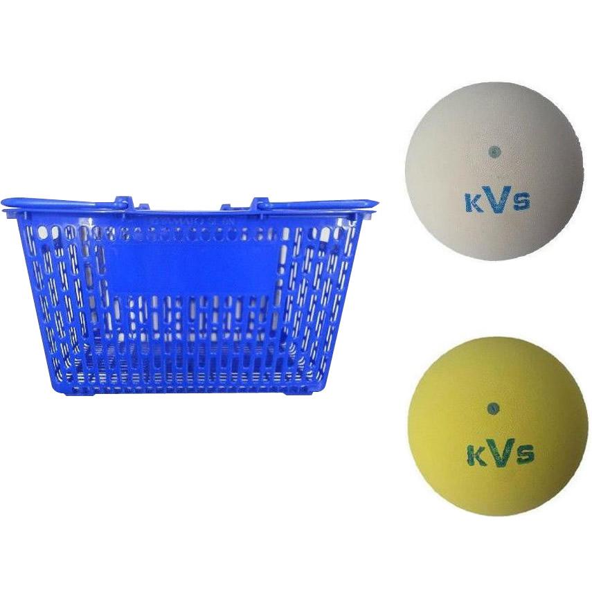 コクサイ KOKUSAI ソフトテニスボール練習球 10ダース(同色120個) カゴ付 ホワイト
