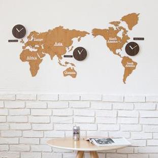 ハンドメイド mo:ro 掛け時計  World Time BIO(世界時計) ブラウン