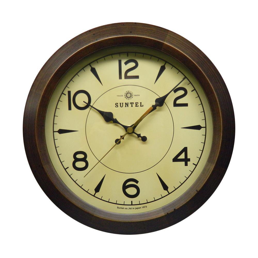 さんてる 日本製 レトロ サークル電波掛け時計 アンティークブラウン DQL678-AN