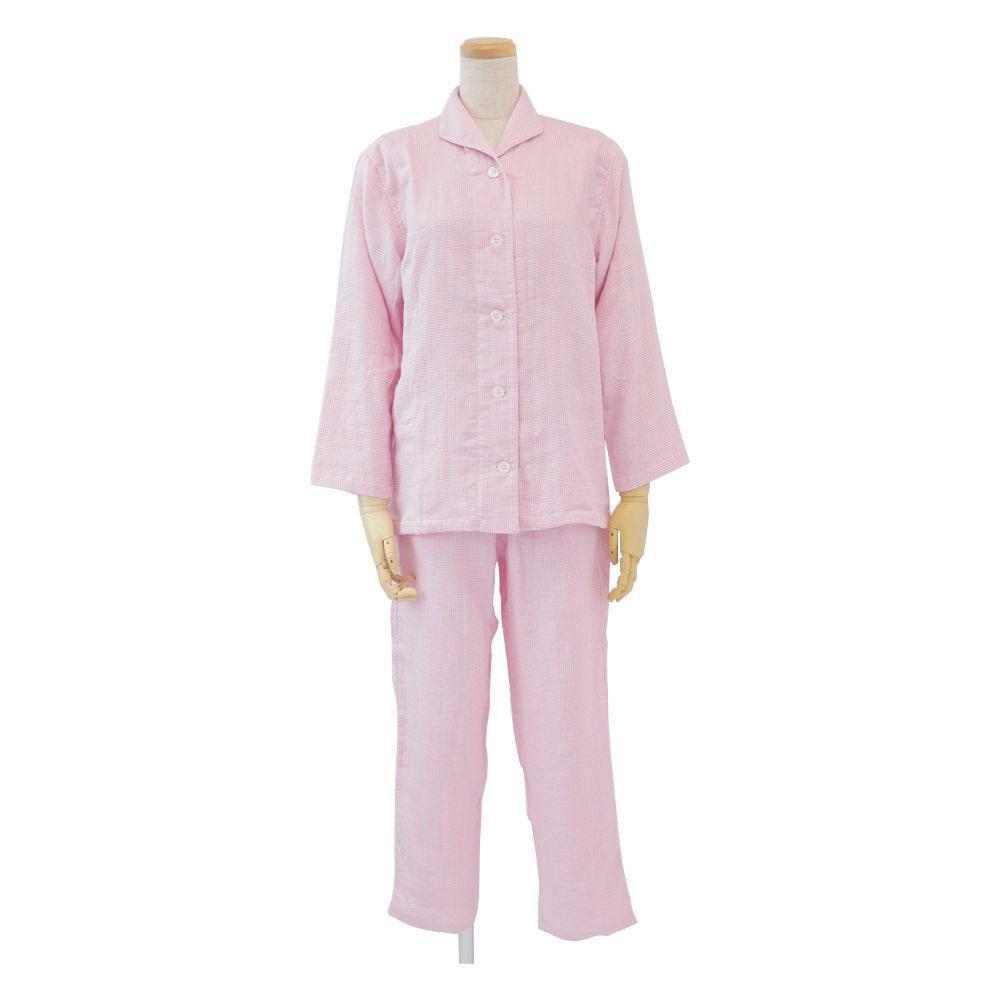 内野 uchino マシュマロガーゼギンガムチェックレディスパジャマ L RPZ18313 ピンク