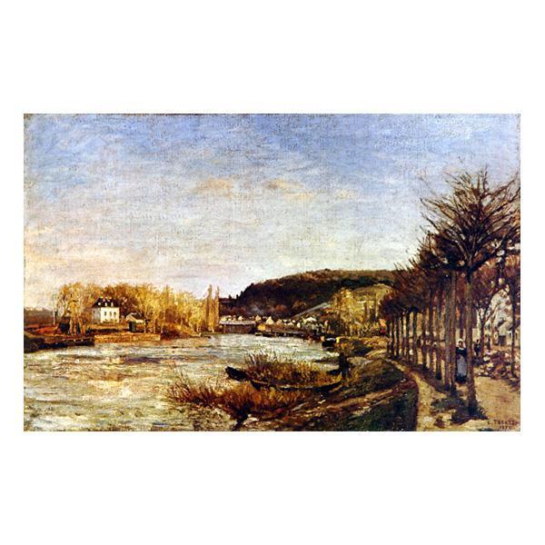 プリハード カミーユ・ピサロ プージヴァールのセーヌ河 F6号 額縁D 3267