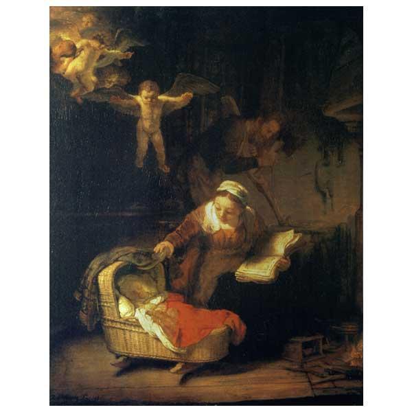 プリハード レンブラント・ファン・レイン 天使のいる聖家族 P10号 額縁G 5507