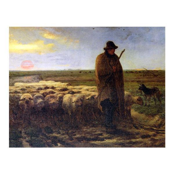 プリハード ジャン・フロンソワ・ミレー 夕暮れに羊を連れ帰る羊飼い F3号 額縁D 1328