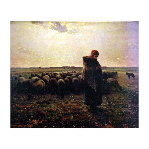 プリハード ジャン・フロンソワ・ミレー 羊飼いの少女 F10号 額縁G 5597