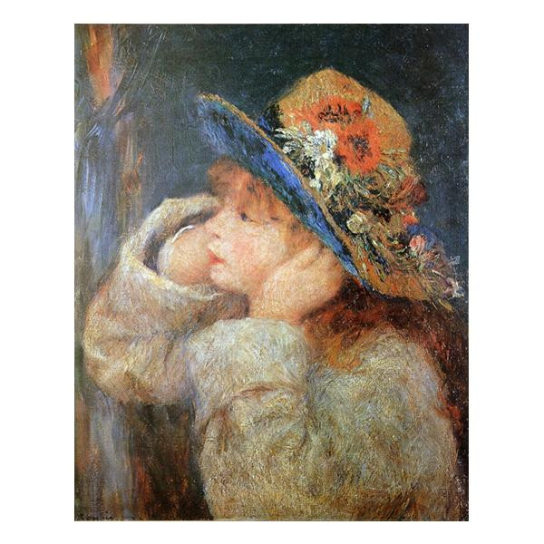 プリハード ピエール・オーギュスト・ルノワール 野の花の帽子をかぶった少女 F8号 額縁A 4013