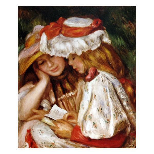 プリハード ピエール・オーギュスト・ルノワール 読書する二人の少女 F8号 額縁D 4269
