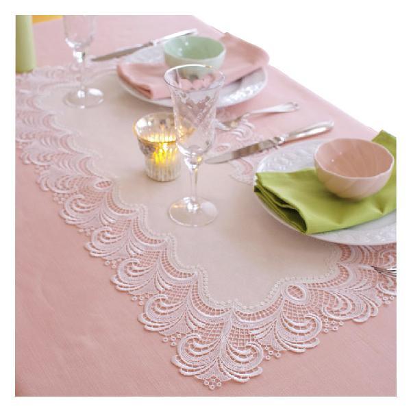 テーブルランナー レース ローマ 約37×83cm ホワイト 602006-0001-10