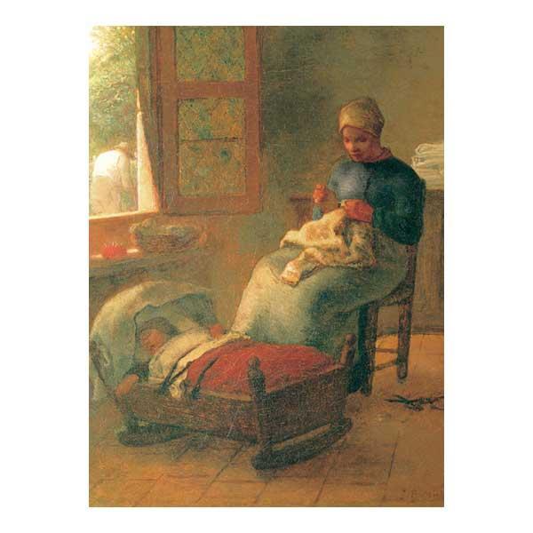 プリハード ジャン・フランソワ・ミレー 眠ったこの傍らで編み物をする女 F6号 額縁G 3571