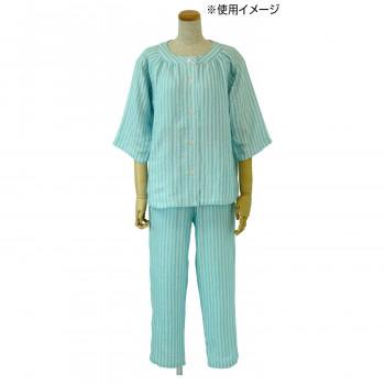 内野 UCHINO マシュマロガーゼ ホワイトストライプ 七分袖 レディス パジャマ ブルー LLサイズ RPZ18405