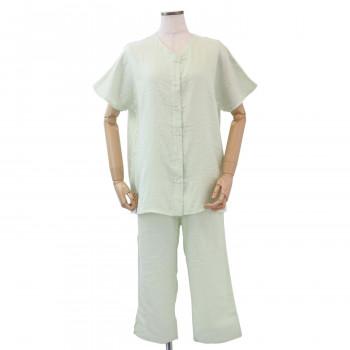 内野 UCHINO マシュマロガーゼ レディス 半袖 パジャマ グリーン Sサイズ RPS14074