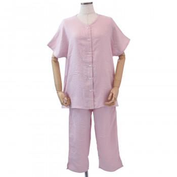 内野 UCHINO マシュマロガーゼ レディス 半袖 パジャマ ピンク Mサイズ RPS14074