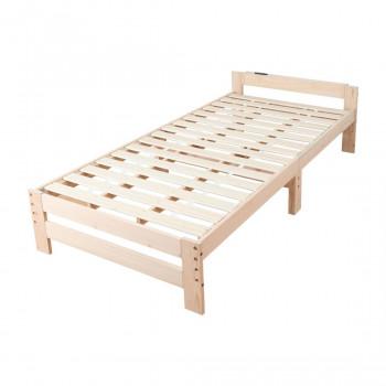 高さ調節できる日本檜のすのこベッド 棚つき JHB-100R