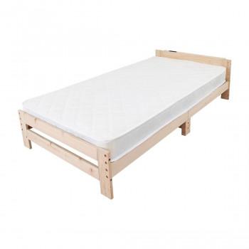 高さ調節できる檜すのこベッド 棚付き マットレスセット JHB-100RMTS