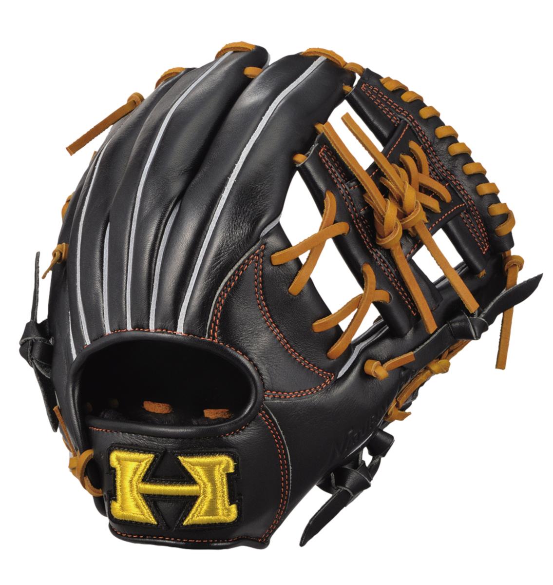 ハイゴールド 軟式野球グラブ 己極シリーズ 遊撃手・二塁手用グローブ ブラック×タン 右投げ OKG6336