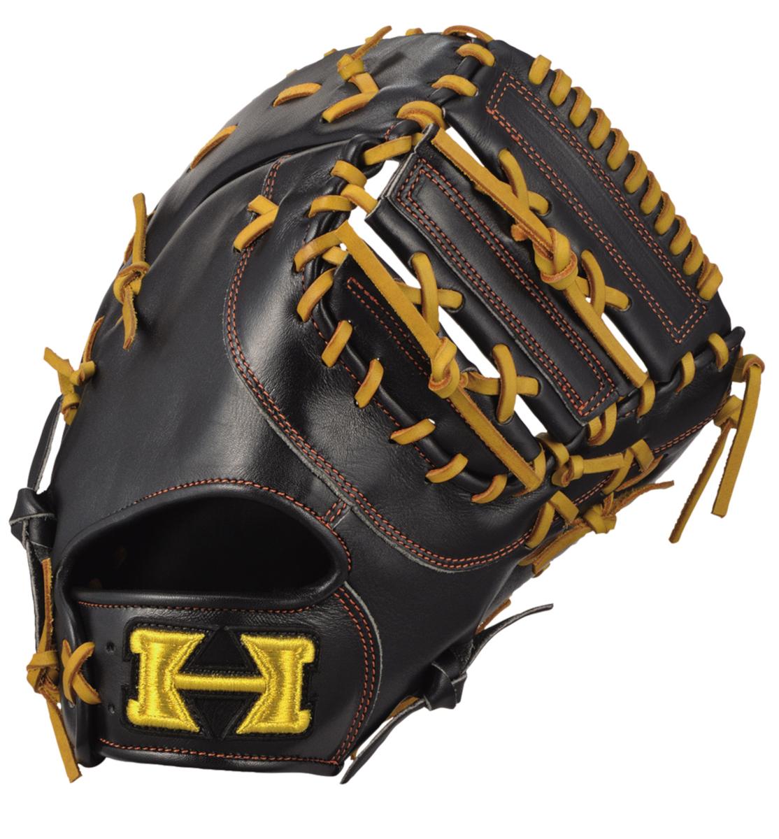 ハイゴールド 軟式野球ミット 己極シリーズ 一塁手用グローブ ブラック×タン OKG633F