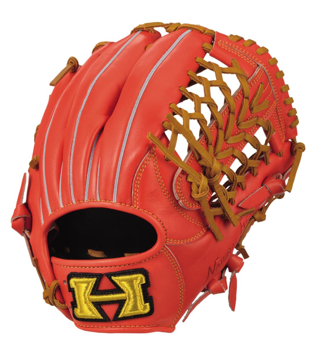 ハイゴールド 軟式野球グラブ 己極シリーズ 三塁手・オールポジション用グローブ ファイヤーオレンジ×タン OKG6435