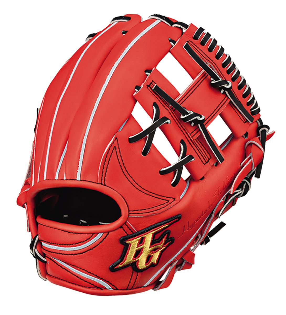 ハイゴールド 硬式野球グラブ 心極(和牛シリーズ) 二塁手用グローブ ファイヤーオレンジ×ブラック 右投げ KKG2004FOR 送料無料 2020年モデル